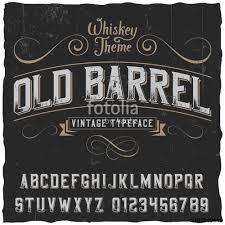 Old Barrel Label Font And Sample Design With Decoration Ribbon Vintage