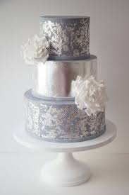 Wildflower Cakes London Wedding Cake With Sugar Roses And Distressed Silver Leaf