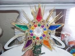 RETRO STAR TREE TOPPER VINTAGE CHRISTMAS DECORmulti Colored Star Bejeweled