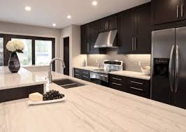 Amazing Contemporary Kitchen Design With Espresso Stained Cabinets Island White Stone Counter