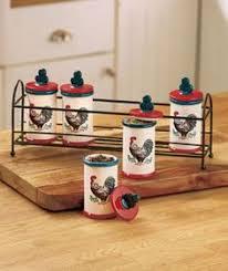 Rooster Kitchen Collection Spice Jar Rack Set