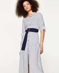 long striped tunic midi dresses woman zara united states