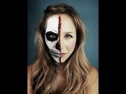 Halloween Half Mask Makeup by Half Skeleton Half Human Face Halloween Makeup Tutorial Youtube
