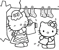 Coloring Pages Of Hello Kitty Helping Her Mother