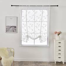 großhandel blatt gestickter kurz römische vorhänge weiß european style tüll kitchen cafe vorhang für fenster tür wohnzimmer schlafzimmer dekorationen