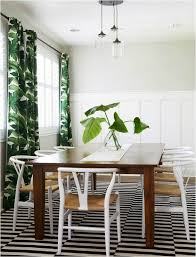 Tropical Inspired Dining Area With Stockholm Rug