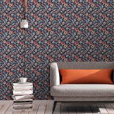 blumentapete folklore garten vintage stil in dunkelblau vliestapete blumen für wohnzimmer