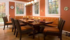 Popular Banquette Seating Kitchen Design Ideas Cozy Loral Upholstered Theme With Long Dining Table
