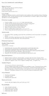 Administrative Resume Executive Assistant Objective Examples Personal