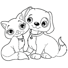 Dog And Cat Coloring Pages Preschool For Page Of Printable