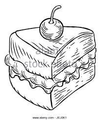A jam and cream Victoria sponge cake slice with cherry hand draw in a retro