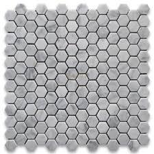 carrara marble tile italian white 1 inch hexagon mosaic
