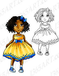 Digital Stamp Coloring Page Line Art Of Cute Chibi Anime Girl Wearing A Yellow Summer Dress