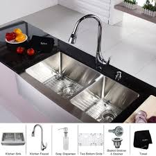 Kraus Kitchen Faucet Home Depot by Kitchen Sink Stainless Steel Combination Kraususa Inch Farmhouse