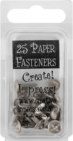 Creative Impressions 7325562 Metal Paper Fasteners - 10mm, 25pk, Pewter