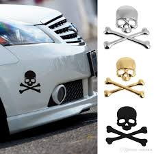 2019 NEW Cool 3D Skull Metal Skeleton Crossbones Motorcle Car ...