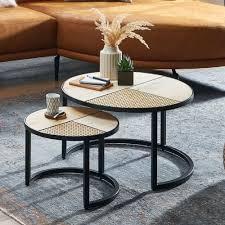 wohnling design wohnzimmertisch 2er set mango rattan beistelltisch rund couchtisch mit metallbeine tischset 2 teilig satztisch holz metall