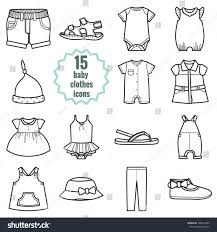 baby clothes icons setclothing summer isolated stock vector
