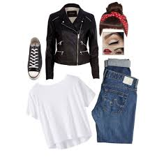 A Fashion Look From February 2015 Featuring White Crop Tops Motorcycle Jacket And Ripped Jeans