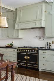 light green gray cabinets with black stove transitional