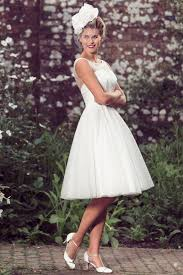 A Line Illusion Neck Sleeveless Simple Knee Length Rustic Wedding Dress