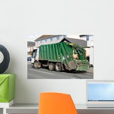 100 Rubbish Truck Green With Wall Mural By Wallmonkeys Peel And Stick