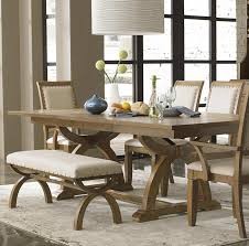 Rustic Modern Dining Room Design With Solid Wood Trestle Throughout Table