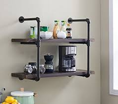 Homissue 2 Shelf Rustic Pipe Shelving Unit Vintage Industrial Wall Dark