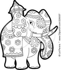 Royalty Free RF Clipart Illustration Of A Coloring Page Outline Pageant Elephant By Lal Perera
