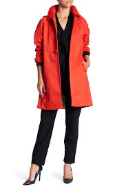 kate spade new york Front Button Hooded Trench Coat