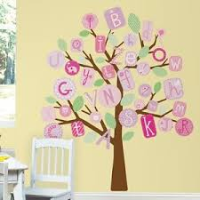 abc tree giant wall mural decals alphabet trees stickers baby girl