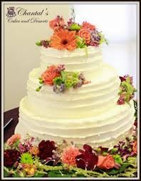 Three Tier Horizontal Lines Buttercream Wedding Cake
