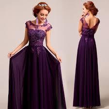 deep plum purple chiffon lace floor length a line evening gown