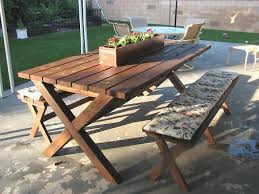 picnic table with x frame construction diy examples construction
