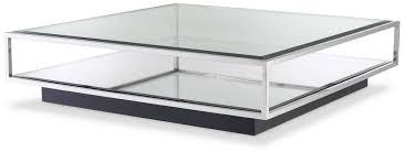casa padrino luxus couchtisch silber schwarz 120 x 120 x h 30 cm quadratischer edelstahl wohnzimmertisch mit spiegelglas und glasplatte