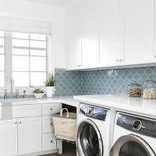 blue scale pattern laundry room backsplash tiles design ideas