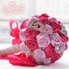 Romantic Silk Rose Bouquets Wedding Bridal Bouquet Crystal Brooch