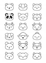 Kawaii Style Animal Heads To Print Color Pig Cow Cat Dog Wolf Panda And More