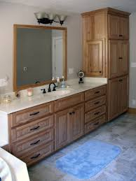 Bathroom Linen Cabinets Menards by Bathroom Hickory Bathroom Vanity For Durability And Moisture