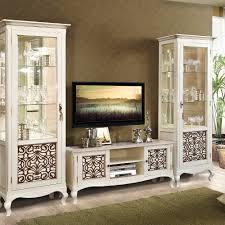 vivien wohnzimmermöbel neoklassisch wohnwand echtholz birke cremeweiß