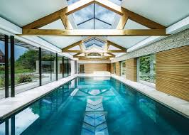 100 House Trusses Indoor Outdoor Pool And Stone Walls And Contemporary Wooden