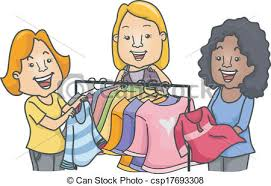 Clothes Swap Illustration Of Women Standing Near A