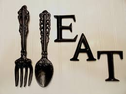 Large Fork Spoon Eat Word Sign Black Kitchen Wall Decor Letters Dining