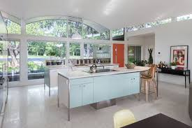 freestanding cabinets kitchen midcentury with gray floor