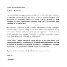 College Re mendation Letter Template Best Business Academic
