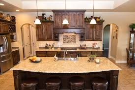 Ornamental Granite Countertops Kitchen Island Dark
