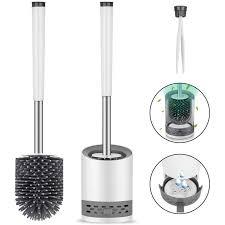 toilettenbürste silikon mit halter wandmontage stehen klobürste set edelstahl langer stiel wc bürste und schnell trocknendem haltersatz für