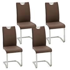 mca furniture schwingstuhl köln mit griff kunstlederbezug farbe braun gestell rundrohr freischwinger für küche und esszimmer