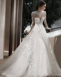 2014 sheer jewel bridal wedding gowns with long sleeves appliques