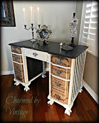 Beautifully Upcycled Vintage Desk Paint Wood Stain And Font Decals Or Stencilling